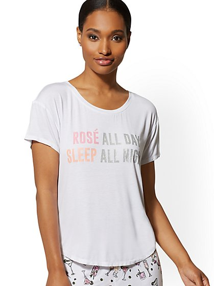 "White ""Rosé"" Sleep Tee - New York & Company"