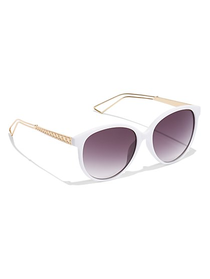 White Round Sunglasses - New York & Company