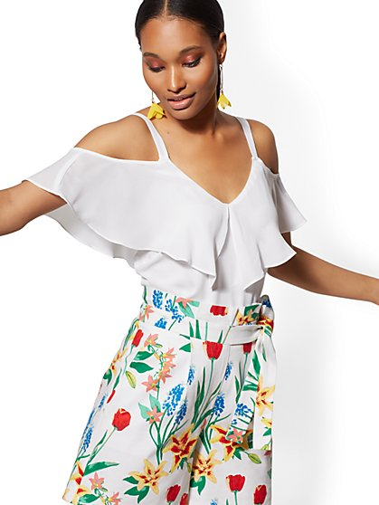 White Ruffle Cold-Shoulder Top - New York & Company