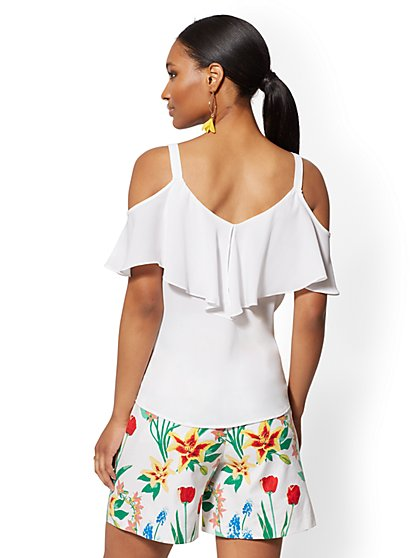 01c51108c5c3c ... White Ruffle Cold-Shoulder Top - New York   Company ...