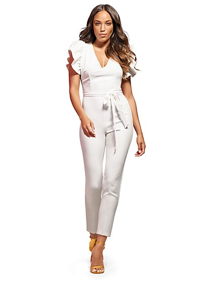 White Ruffle-Sleeve Jumpsuit - New York & Company