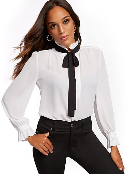 White Ruffled Bow-Accent Blouse - New York & Company