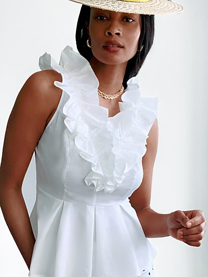 White Ruffled Peplum Top - New York & Company