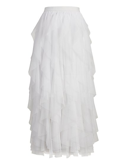 White Ruffled Tulle Skirt - New York & Company