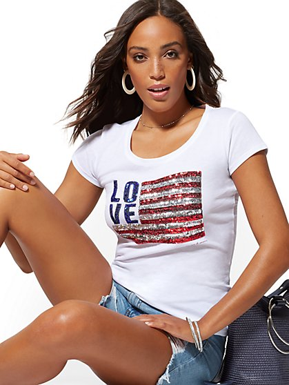 "White Sequin ""Love"" Flag Graphic Logo Tee - New York & Company"