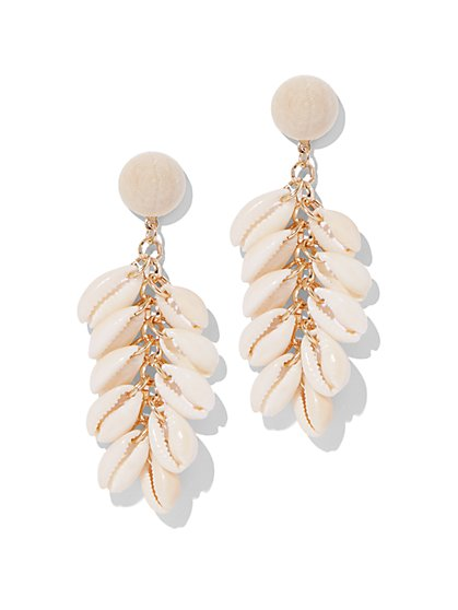 White Shell Linear Drop Earring - New York & Company