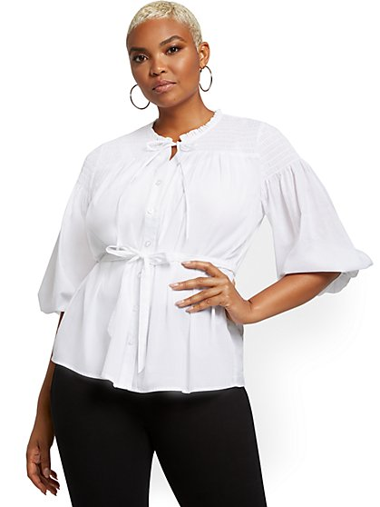 White Smocked Belted Shirt - New York & Company
