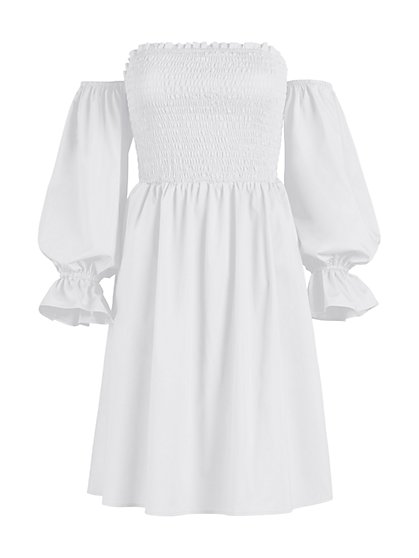 White Smocked Off-The-Shoulder Dress - New York & Company