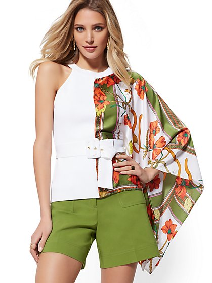 White Status-Print Belted Asymmetrical Top - 7th Avenue - New York & Company
