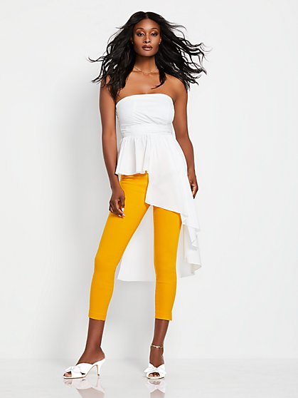 White Strapless Asymmetrical-Hem Shirt - New York & Company