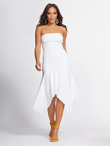 White Strapless Hi-Lo Maxi Dress - Gabrielle Union Collection - New York & Company