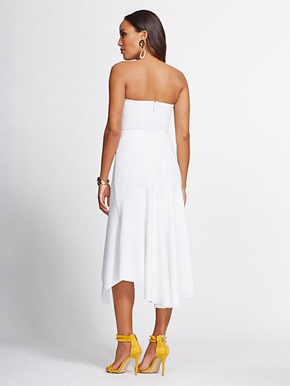 22147a2c ... White Strapless Hi-Lo Maxi Dress - Gabrielle Union Collection - New  York & Company