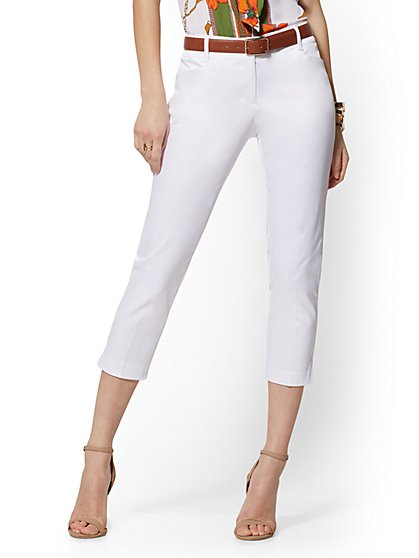White Structured Crop Pant - Signature - 7th Avenue - New York & Company