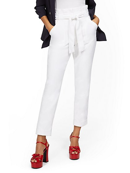 White Tapered Leg Pant - New York & Company