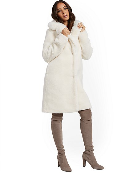 White Teddy Bear Coat - New York & Company