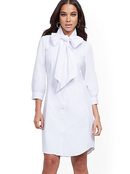 White Tie-Neck Poplin Shirtdress - New York & Company