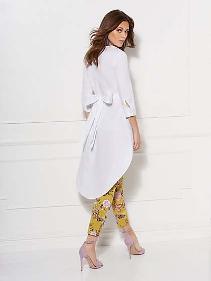 White V-Neck Hi-Lo Poplin Tunic Shirt - New York & Company