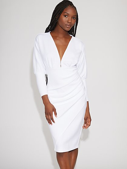 White V-Neck Sheath Dress - Gabrielle Union Collection - New York & Company