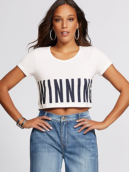 "White ""Winning"" Crop Tee - Gabrielle Union Collection - New York & Company"