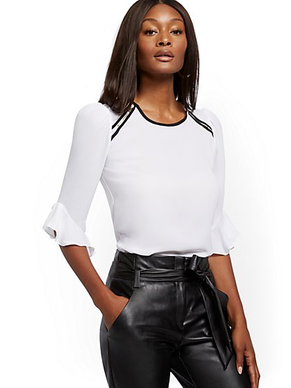 White Zip-Accent Ruffled Top - 7th Avenue - New York & Company