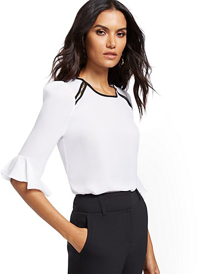White Zip-Accent Top - 7th Avenue - New York & Company