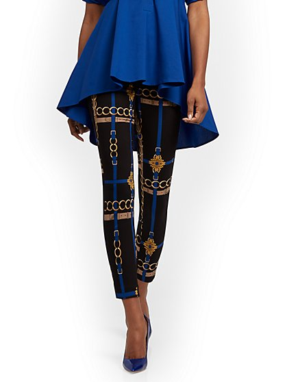 Whitney Belted High-Waisted Pull-On Ankle Pant - Link Print - New York & Company