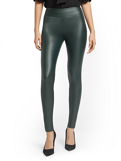 Whitney Faux-Leather High-Waisted Pull-On Slim-Leg Pant - New York & Company