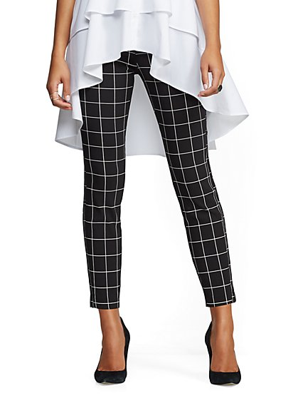 Whitney High-Waist Pull-On Ankle Pant - Black Plaid - New York & Company