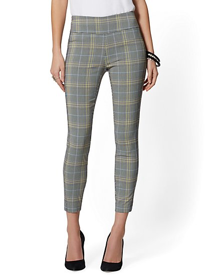 Whitney High-Waist Pull-On Ankle Pant - Green Plaid - New York & Company