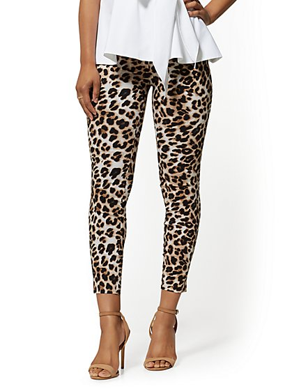 Whitney High-Waist Pull-On Ankle Pant - Leopard Print - New York & Company