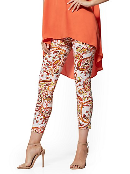 Whitney High-Waist Pull-On Ankle Pant - Print - New York & Company