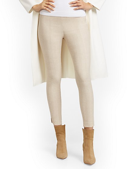 Whitney High-Waist Pull-On Ankle Pant - Tan - New York & Company