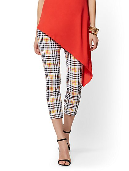 Whitney High-Waist Pull-On Crop Pant - Plaid - New York & Company