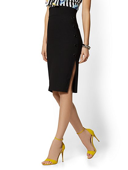 Whitney High-Waist Pull-On Pencil Skirt - Button-Accent - 7th Avenue - New York & Company