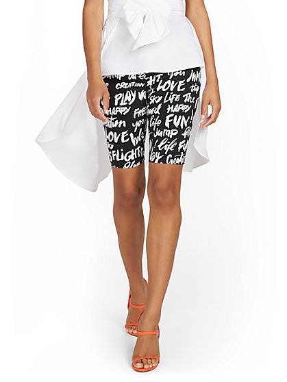 Whitney High-Waisted Pull-On 11-Inch Short - Black & White Print - New York & Company