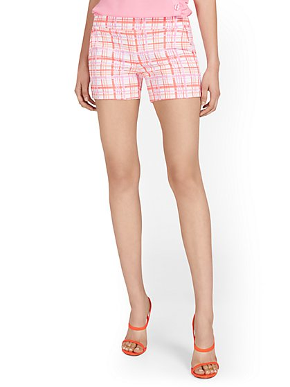 Whitney High-Waisted Pull-On 4-Inch Short - Plaid - New York & Company
