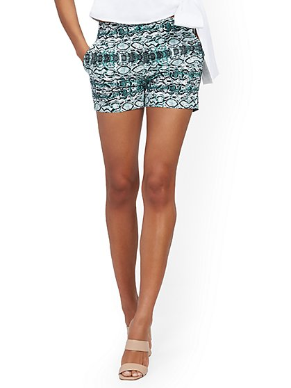 Whitney High-Waisted Pull-On 4-Inch Short - Snake Print - New York & Company