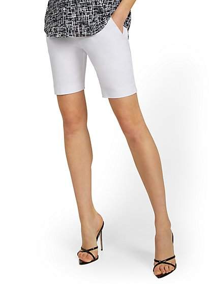 Whitney High-Waisted Pull-On 8-Inch Short - White - New York & Company