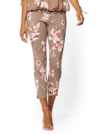 Whitney High-Waisted Pull-On Ankle Pant - Floral Print - New York & Company
