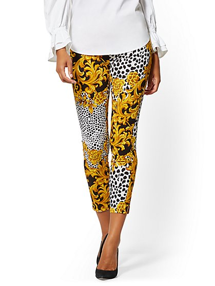Whitney High-Waisted Pull-On Ankle Pant - Mixed Print - New York & Company