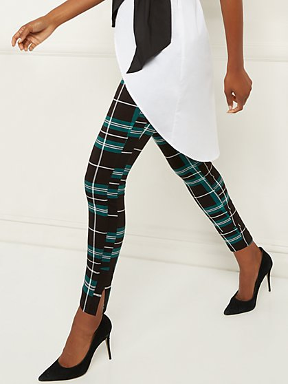 Whitney High-Waisted Pull-On Ankle Pant - Plaid - New York & Company