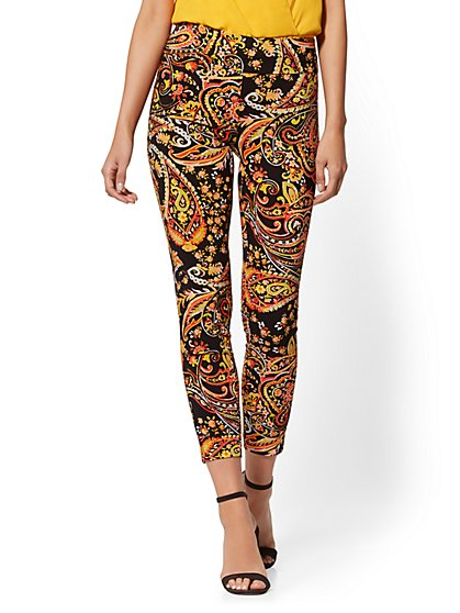 Whitney High-Waisted Pull-On Ankle Pant - Print - New York & Company