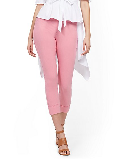 Whitney High-Waisted Pull-On Capri Pant - Pink Stripe - New York & Company