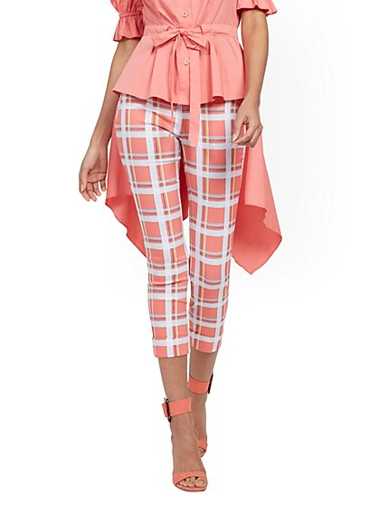 Whitney High-Waisted Pull-On Capri Pant - Plaid - New York & Company