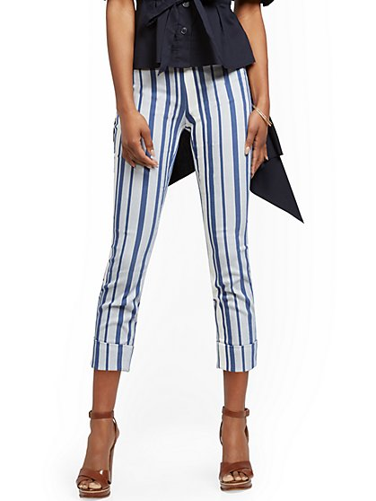 Whitney High-Waisted Pull-On Capri Pant - Stripe - New York & Company