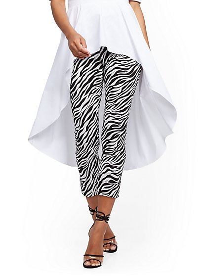 Whitney High-Waisted Pull-On Capri Pant - Zebra Print - New York & Company
