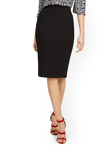 Whitney High-Waisted Pull-On Skirt - Black - New York & Company