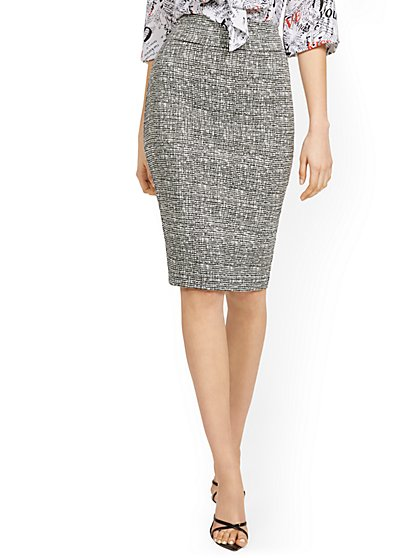 Whitney High-Waisted Pull-On Skirt - Crosshatch - New York & Company