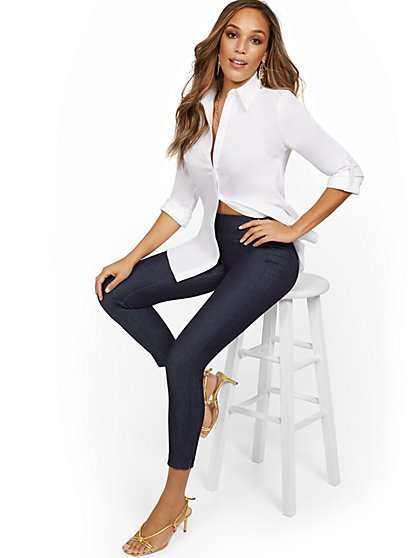 Whitney High-Waisted Pull-On Slim-Leg Ankle Pant - Navy - New York & Company
