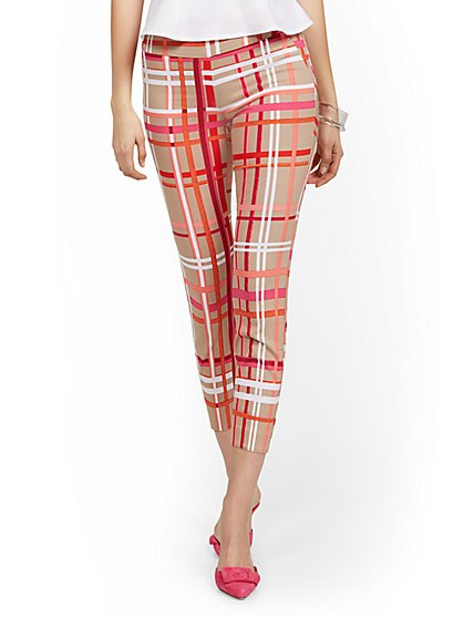 Whitney High-Waisted Pull-On Slim-Leg Ankle Pant - Plaid - New York & Company